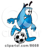 Clipart Picture Of A Water Drop Mascot Cartoon Character Kicking A Soccer Ball by Toons4Biz