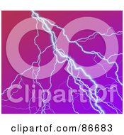 Royalty Free RF Clipart Illustration Of A Strike Of Lightning Over Purple by Arena Creative
