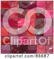Royalty Free RF Clipart Illustration Of A Background Of Red And Pink Tiles by Arena Creative