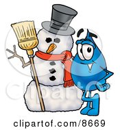 Clipart Picture Of A Water Drop Mascot Cartoon Character With A Snowman On Christmas by Toons4Biz