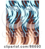 Royalty Free RF Clipart Illustration Of A Brown And Blue Wavy Flame Background by Arena Creative