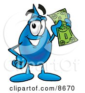 Water Drop Mascot Cartoon Character Holding A Dollar Bill