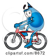 Water Drop Mascot Cartoon Character Riding A Bicycle