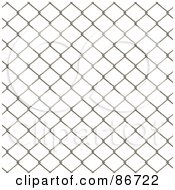 Royalty Free RF Clipart Illustration Of A Wire Fence Border Over White by Arena Creative