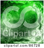 Royalty Free RF Clipart Illustration Of A Green Ripply Plasma Background by Arena Creative