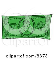 Water Drop Mascot Cartoon Character On A Dollar Bill