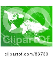 Royalty Free RF Clipart Illustration Of A White Atlas Over Green With Mesh Waves And Binary Code