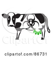 Royalty Free RF Clipart Illustration Of A Toxic Dairy Cow With A Biohazard Marking And Green Udders
