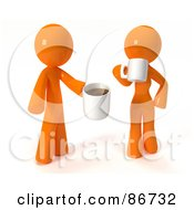 Royalty Free RF Clipart Illustration Of A 3d Orange Man And Woman Standing And Drinking Coffee