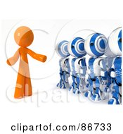 3d Orange Man Man Speaking To A Line Of Ao-Maru Robots