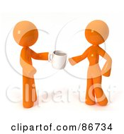 Royalty Free RF Clipart Illustration Of A 3d Orange Man Giving A Woman CoffeeCoffee