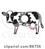 Royalty Free RF Clipart Illustration Of A Dairy Cow With Gear Cog Markings And Udders by Leo Blanchette