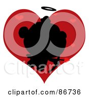 Black Silhouette Of Cupid Over Red Hearts