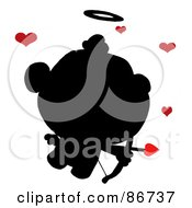 Royalty Free RF Clipart Illustration Of A Black Silhouette Of Cupid With Red Hearts