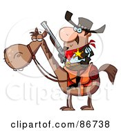 Royalty Free RF Clipart Illustration Of A Western Sheriff On A Horse
