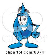 Clipart Picture Of A Water Drop Mascot Cartoon Character Pointing At The Viewer by Toons4Biz