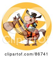 Royalty Free RF Clipart Illustration Of A Western Sheriff On Horseback In Front Of A Star by Hit Toon