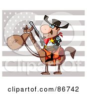Royalty Free RF Clipart Illustration Of A Western Sheriff On Horseback In Front Of A Flag
