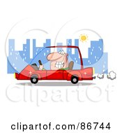 Royalty Free RF Clipart Illustration Of A Grinning Man Driving A Red Car In The City