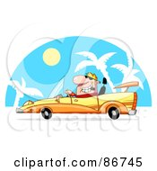 Royalty Free RF Clipart Illustration Of A Blond Dude Smoking A Cigar And Driving A Convertible In The Tropics