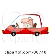 Royalty Free RF Clipart Illustration Of A Grinning Guy Driving A Red Car by Hit Toon