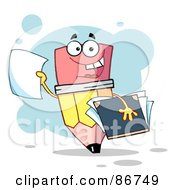 Royalty Free RF Clipart Illustration Of A Pencil Guy Holding Up A Blank Report Card