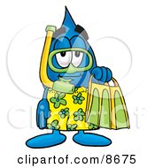 Clipart Picture Of A Water Drop Mascot Cartoon Character In Green And Yellow Snorkel Gear