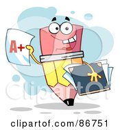 Royalty Free RF Clipart Illustration Of A Pencil Holding An A Plus Report Card