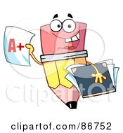 Royalty Free RF Clipart Illustration Of A Pencil Guy Holding An A Plus Report Card by Hit Toon