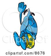 Clipart Picture Of A Water Drop Mascot Cartoon Character Plugging His Nose While Jumping Into Water