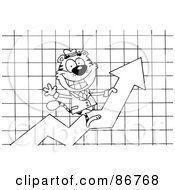Royalty Free RF Clipart Illustration Of An Outlined Business Tiger Character Riding Upwards On A Statistics Arrow by Hit Toon