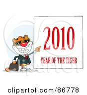 Royalty Free RF Clipart Illustration Of A Business Tiger Pointing To A Sign 2010 Year Of The Tiger