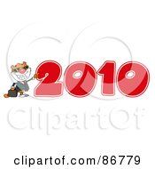 Royalty Free RF Clipart Illustration Of A Business Tiger Character By A Red 2010 by Hit Toon