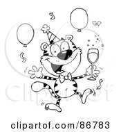 Royalty Free RF Clipart Illustration Of An Outlined Party Tiger Character With Champagne