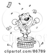 Royalty Free RF Clipart Illustration Of An Outlined Tiger Character Wearing Boxing Gloves And Standing On A Stack Of Coins