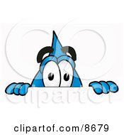 Water Drop Mascot Cartoon Character Peeking Over A Surface