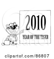Royalty Free RF Clipart Illustration Of An Outlined Business Tiger Pointing To A Sign 2010 Year Of The Tiger