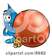 Water Drop Mascot Cartoon Character Standing With A Christmas Bauble