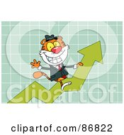 Royalty Free RF Clipart Illustration Of A Successful Tiger Character Riding Up On A Statistics Arrow by Hit Toon