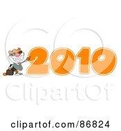 Royalty Free RF Clipart Illustration Of A Business Tiger Character By An Orange 2010