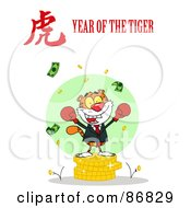 Royalty Free RF Clipart Illustration Of A Successful Business Tiger On Coins With A Year Of The Tiger Chinese Symbol And Text