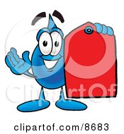 Water Drop Mascot Cartoon Character Holding A Red Sales Price Tag