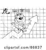Royalty Free RF Clipart Illustration Of An Outlined Successful Business Tiger On A Profit Arrow With A Year Of The Tiger Chinese Symbol And Text by Hit Toon