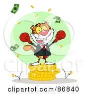 Royalty Free RF Clipart Illustration Of A Victorious Tiger Character Wearing Boxing Gloves And Standing On A Stack Of Coins