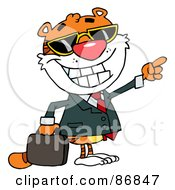 Business Tiger Character Pointing And Smiling