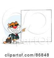 Royalty Free RF Clipart Illustration Of A Tiger Character Pointing To A Blank Sign