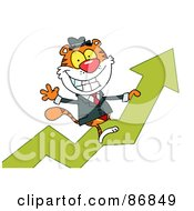 Royalty Free RF Clipart Illustration Of A Successful Tiger Character Riding Upwards On A Statistics Arrow by Hit Toon