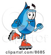 Water Drop Mascot Cartoon Character Roller Blading On Inline Skates