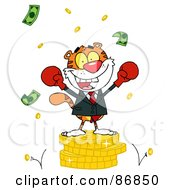 Royalty Free RF Clipart Illustration Of A Successful Tiger Wearing Boxing Gloves And Standing On A Stack Of Coins
