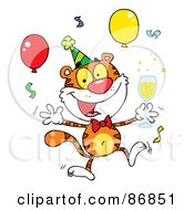 Happy Party Tiger Character With Champagne